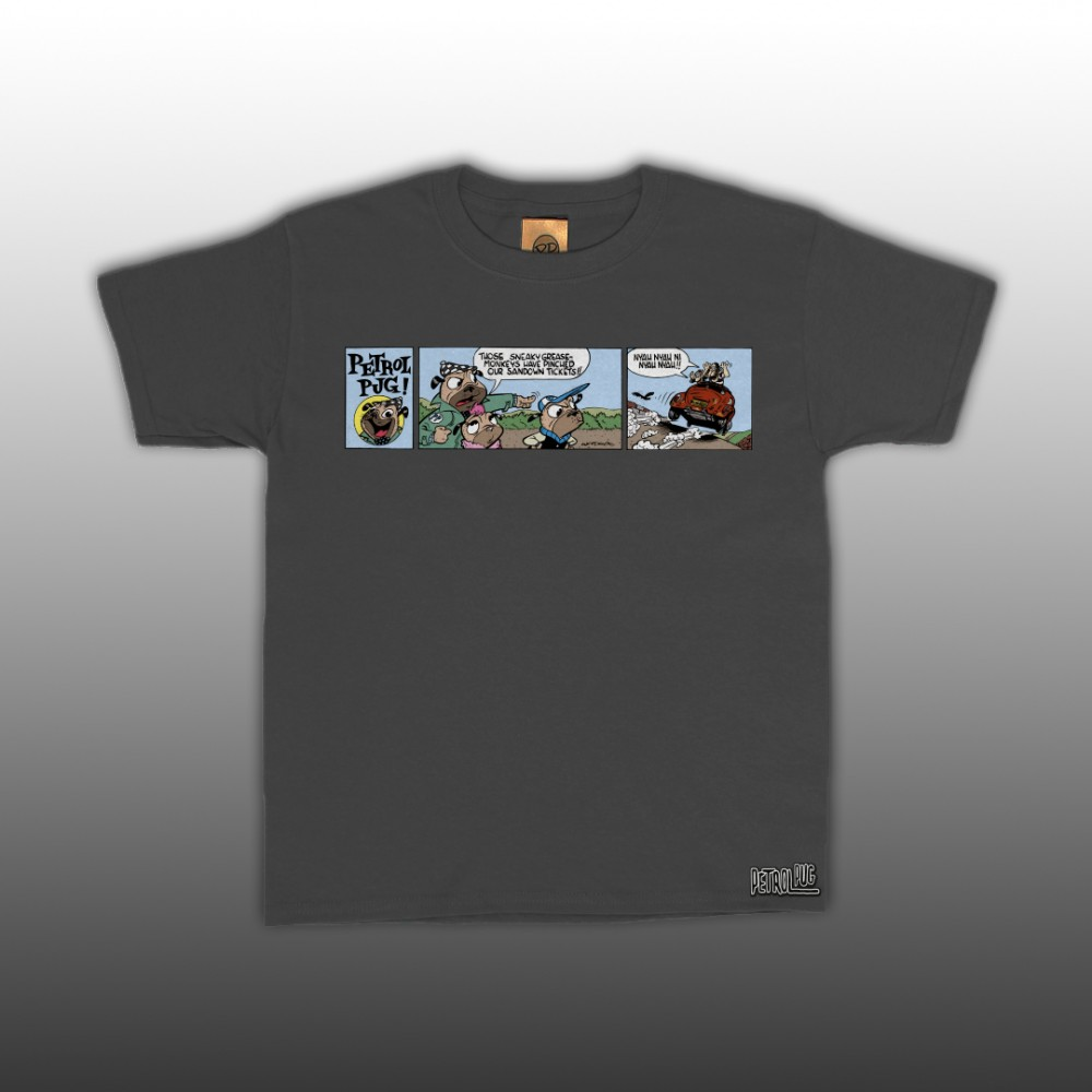 Petrol Pug Comic 3-Panel Kids T-Shirt
